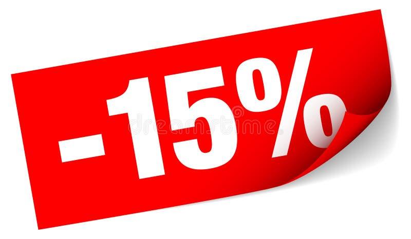 Διαγώνια κόκκινη κολλώδης πώληση σημειώσεων μείον δεκαπέντε τοις εκατό ελεύθερη απεικόνιση δικαιώματος