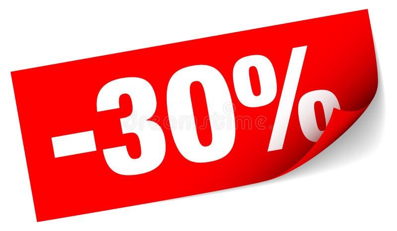 Διαγώνια κόκκινη κολλώδης πώληση σημειώσεων μείον τριάντα τοις εκατό ελεύθερη απεικόνιση δικαιώματος