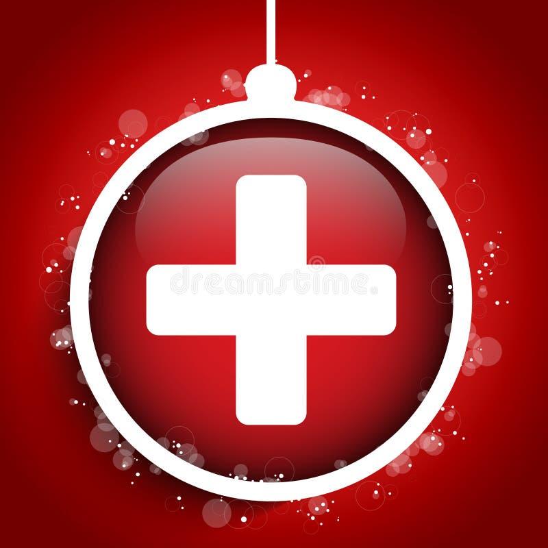 Διαγώνια σφαίρα νοσοκομείων γιατρών Χαρούμενα Χριστούγεννας ελεύθερη απεικόνιση δικαιώματος