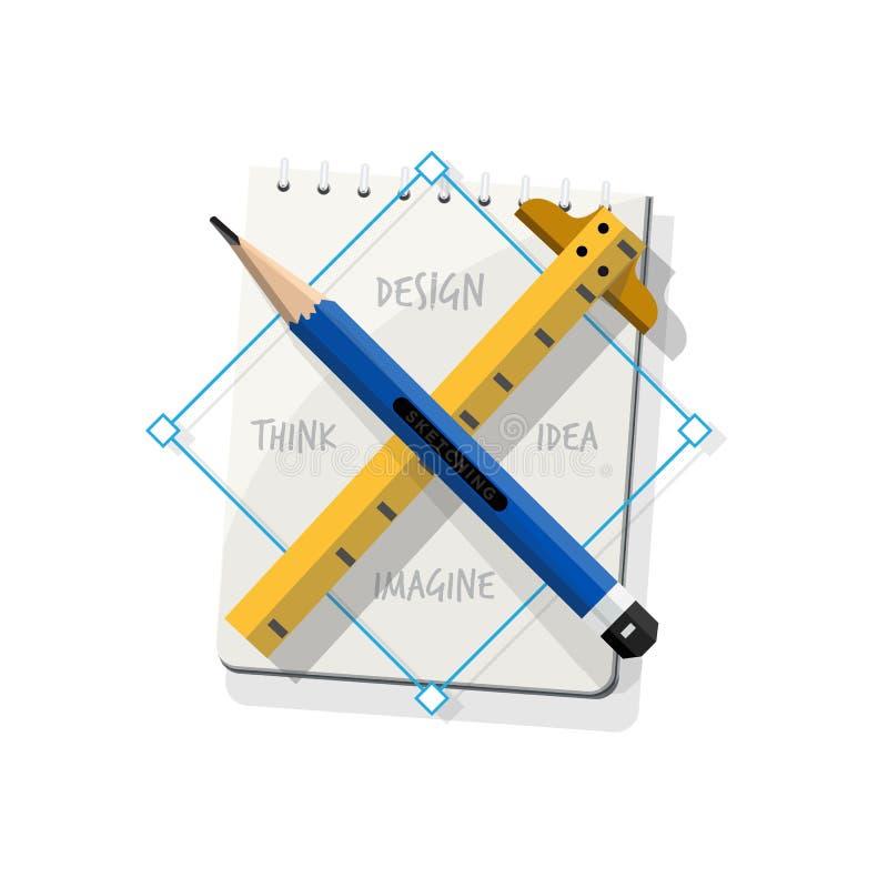 Διαγώνιος κυβερνήτης μολυβιών με το sketchbook σύμβολο του σχεδίου Το προσωπικό S ελεύθερη απεικόνιση δικαιώματος