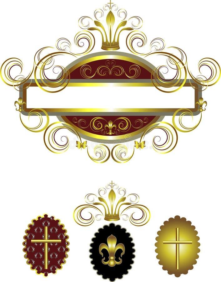 διαγώνιος χρυσός πλαισίων κορωνών διακοσμημένος $cu παλαιός διανυσματική απεικόνιση