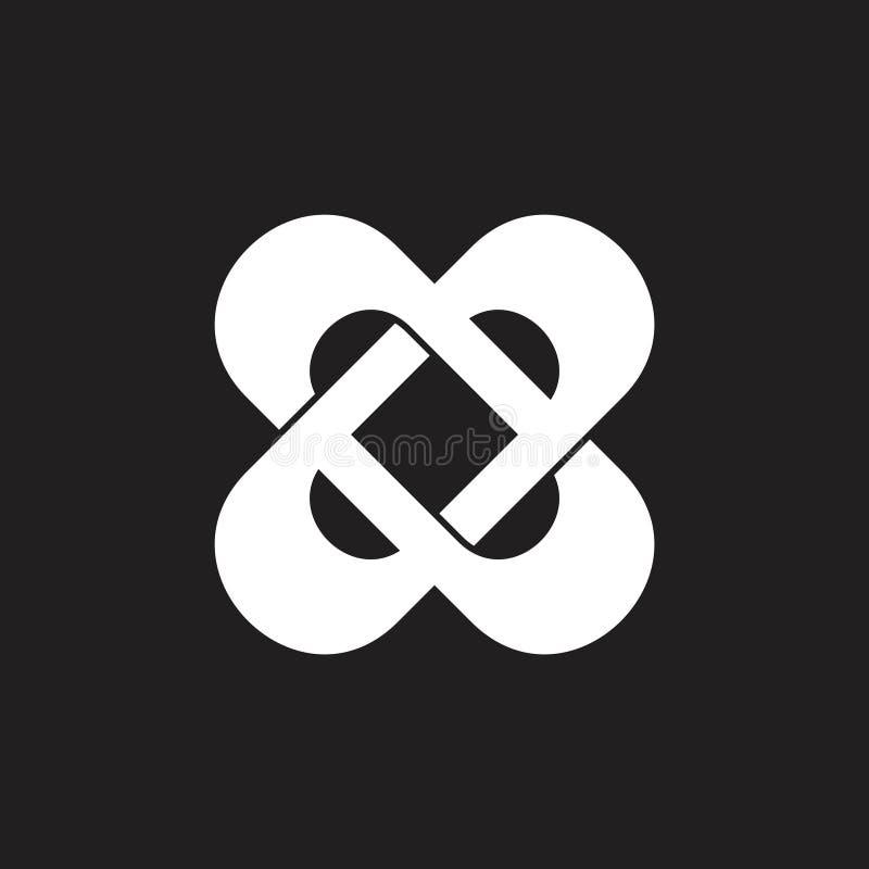 Διαγώνιο διάνυσμα λογότυπων επιστολών συνεδεμένο με το φύλο τρισδιάστατο απεικόνιση αποθεμάτων