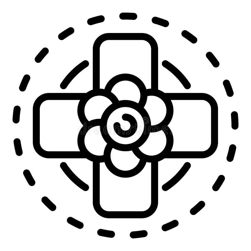 Διαγώνιο εικονίδιο τοπ λουλουδιών άποψης, ύφος περιλήψεων διανυσματική απεικόνιση