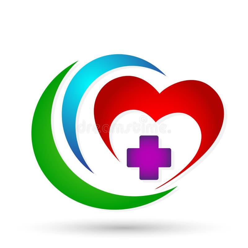 Διαγώνιο ευτυχές υγιές οικογενειακό ανθρώπινο λογότυπο κλινικών καρδιών ιατρικό στο άσπρο υπόβαθρο διανυσματική απεικόνιση