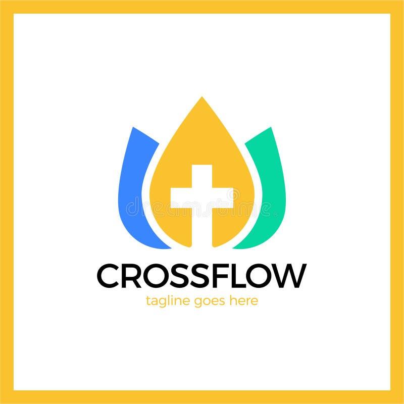 Διαγώνιο λογότυπο κορωνών λουλουδιών - εκκλησία Calvary διανυσματική απεικόνιση