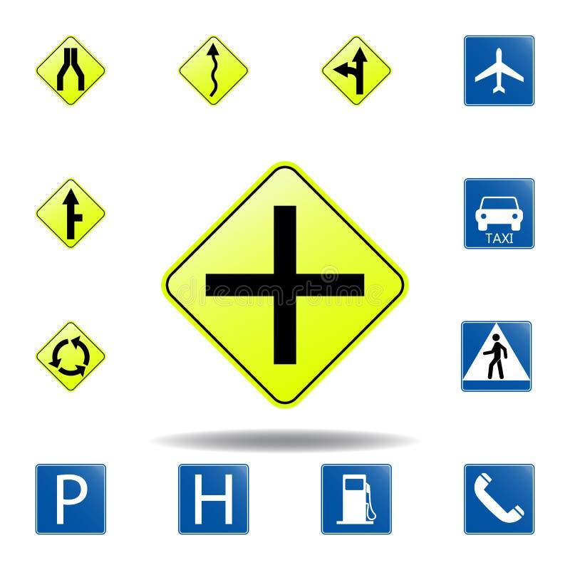 διαγώνιο οδικό εικονίδιο σύνολο εικονιδίου οδικών σημαδιών για την κινητούς έννοια και τον Ιστό apps το χρωματισμένο διαγώνιο οδι απεικόνιση αποθεμάτων