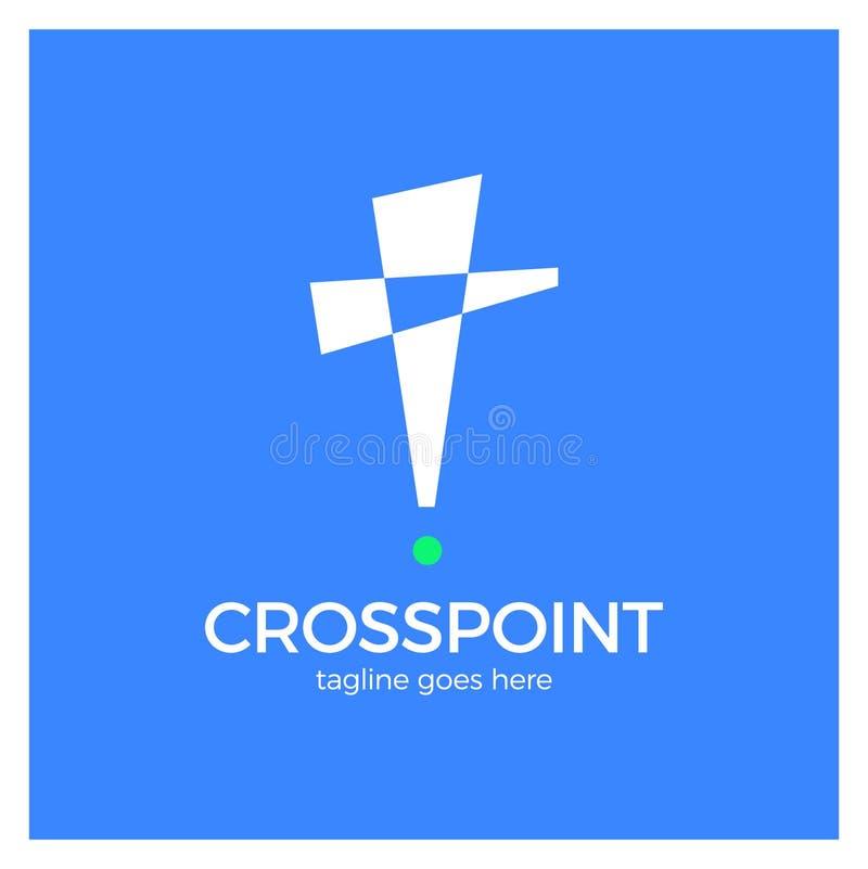 Διαγώνιο σημείο logotype Καρφίτσα εκκλησιών logotype Χριστιανικό εικονίδιο θέσης aler διανυσματική απεικόνιση