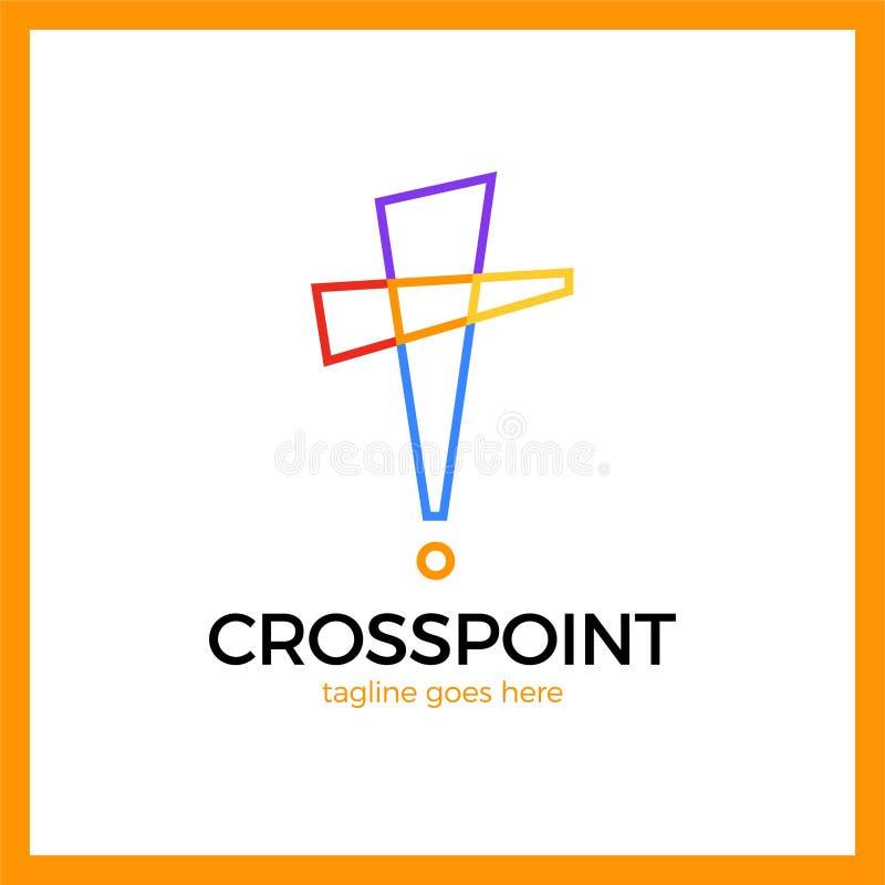 Διαγώνιο σημείο logotype Καρφίτσα εκκλησιών logotype Χριστιανικό εικονίδιο θέσης aler απεικόνιση αποθεμάτων