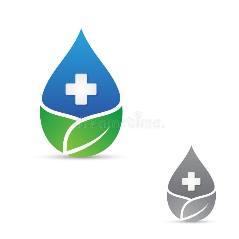 Διαγώνιο σύμβολο υγείας για ιατρικό με το σταγονίδιο και το φύλλο ελεύθερη απεικόνιση δικαιώματος