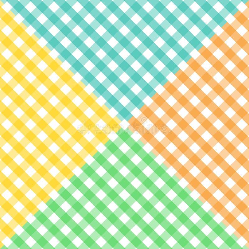διαγώνιο gingham τέσσερα χρωμάτων πρότυπο άνευ ραφής διανυσματική απεικόνιση