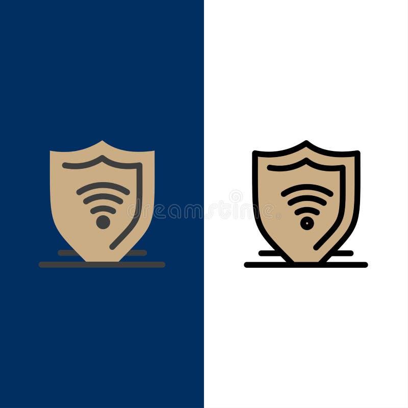 Διαδίκτυο, ασφάλεια Διαδικτύου, προστατεύει, προστατεύει τα εικονίδια Επίπεδος και γραμμή γέμισε το καθορισμένο διανυσματικό μπλε διανυσματική απεικόνιση