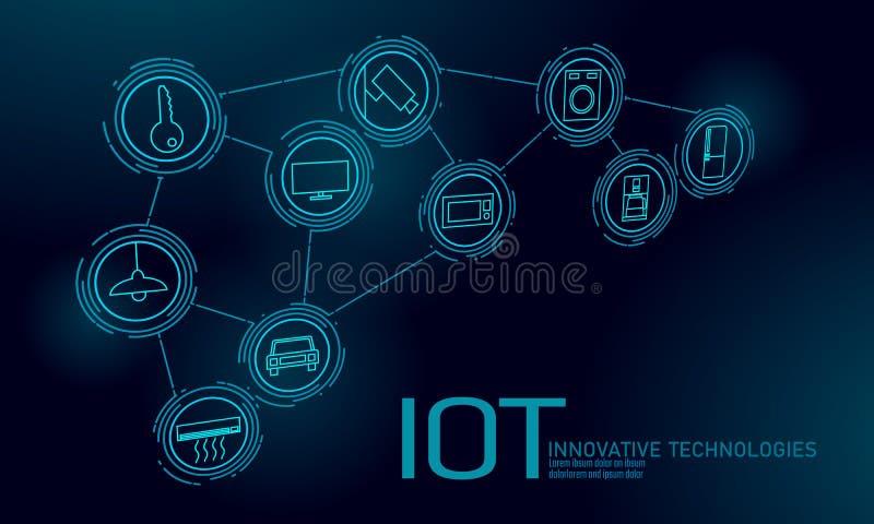 Διαδίκτυο της έννοιας τεχνολογίας καινοτομίας εικονιδίων πραγμάτων Έξυπνες ICT δικτύων επικοινωνίας πόλεων ασύρματες IOT σπίτι απεικόνιση αποθεμάτων
