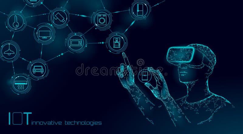 Διαδίκτυο της σύγχρονης λειτουργίας πραγμάτων από την έννοια τεχνολογίας καινοτομίας γυαλιών vr Επικοινωνία που αυξάνεται ασύρματ διανυσματική απεικόνιση