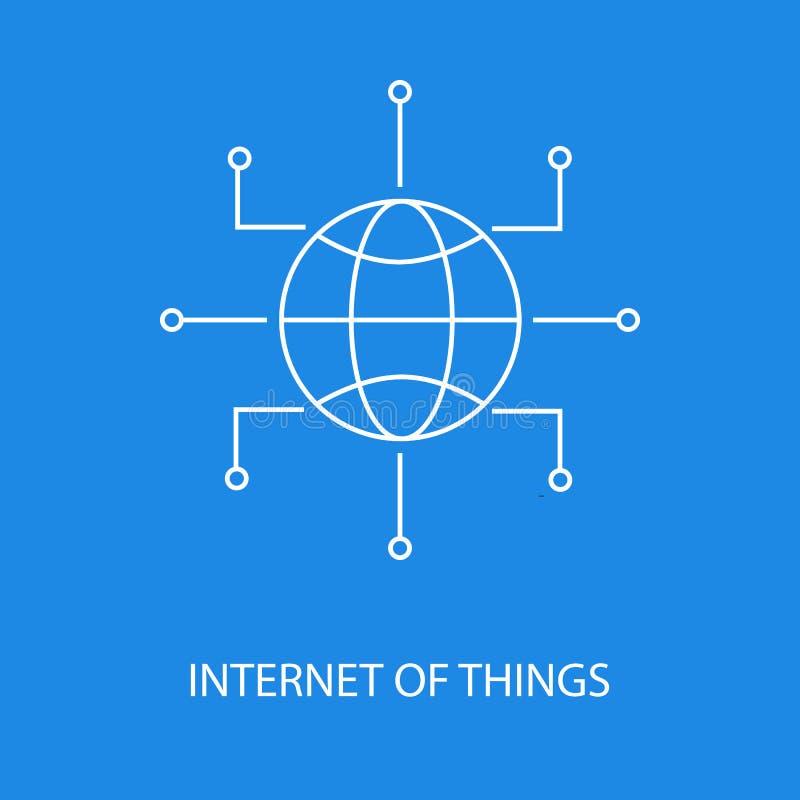 Διαδίκτυο του διανυσματικού εικονιδίου πραγμάτων ή του στοιχείου σχεδίου στο ύφος περιλήψεων στο μπλε υπόβαθρο ελεύθερη απεικόνιση δικαιώματος
