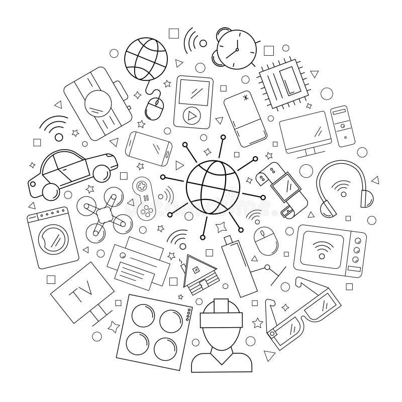 Διαδίκτυο του υποβάθρου κύκλων πραγμάτων από το εικονίδιο γραμμών γραμμικό διανυσματικό σχέδιο ελεύθερη απεικόνιση δικαιώματος