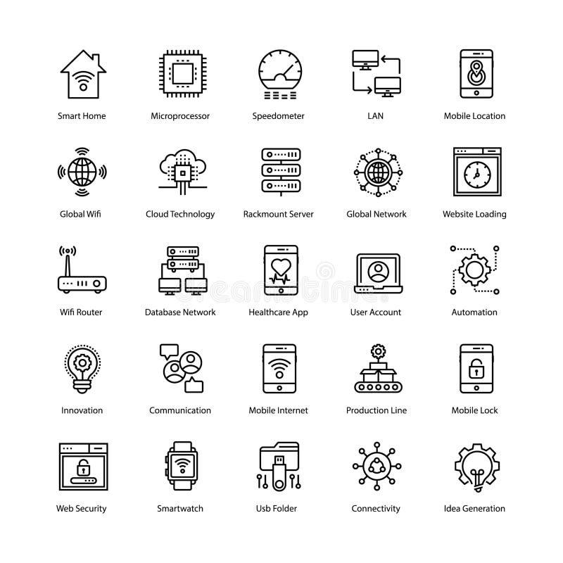 Διαδίκτυο των εικονιδίων πραγμάτων καθορισμένων απεικόνιση αποθεμάτων