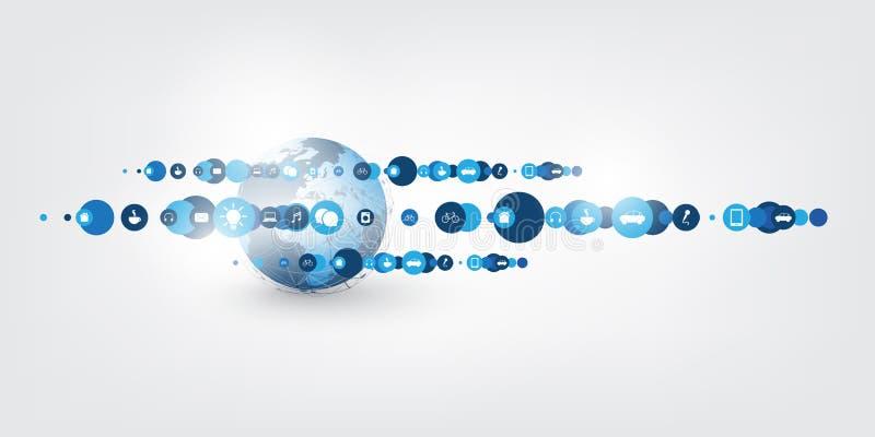 Διαδίκτυο των πραγμάτων, έννοια σχεδίου υπολογισμού σύννεφων με τα εικονίδια - συνδέσεις ψηφιακών δικτύων, υπόβαθρο τεχνολογίας απεικόνιση αποθεμάτων