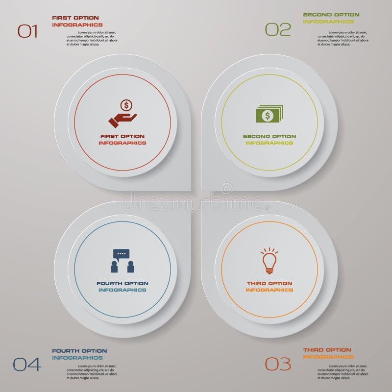 διαδικασία 4 βημάτων Αφηρημένο στοιχείο σχεδίου Simple&Editable διάνυσμα διανυσματική απεικόνιση