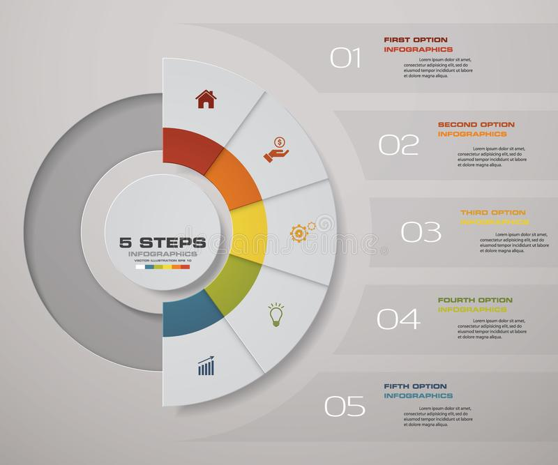 διαδικασία 5 βημάτων Αφηρημένο στοιχείο σχεδίου Simple&Editable διάνυσμα διανυσματική απεικόνιση