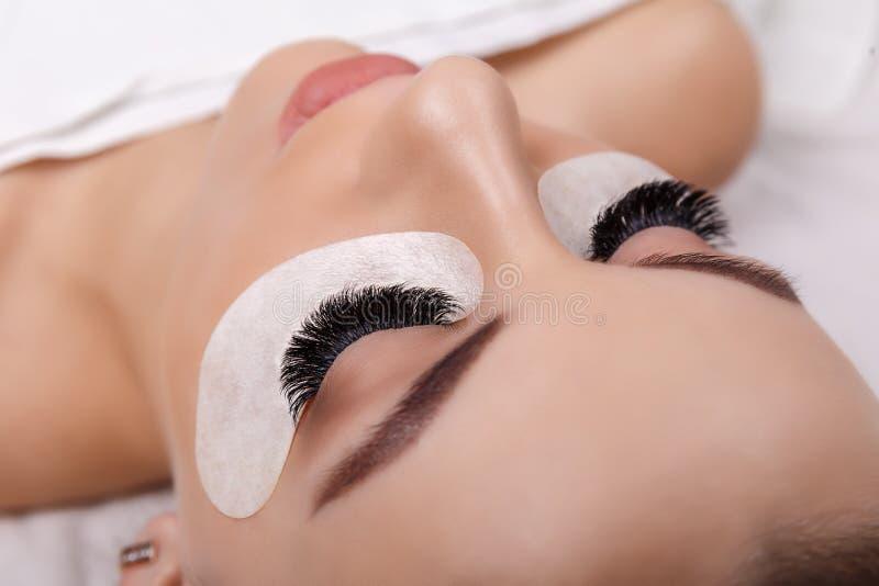 Διαδικασία επέκτασης Eyelash Μάτι γυναικών με τα μακροχρόνια eyelashes Κλείστε επάνω, εκλεκτική εστίαση Hollywood, ρωσικός όγκος στοκ εικόνες