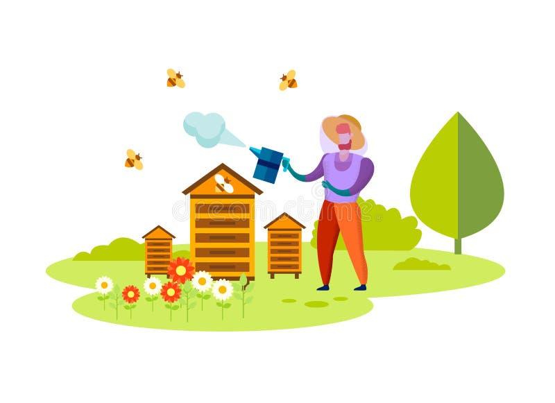 Διαδικασία μελισσοκομίας, επάγγελμα, τρόφιμα Eco μελιού απεικόνιση αποθεμάτων