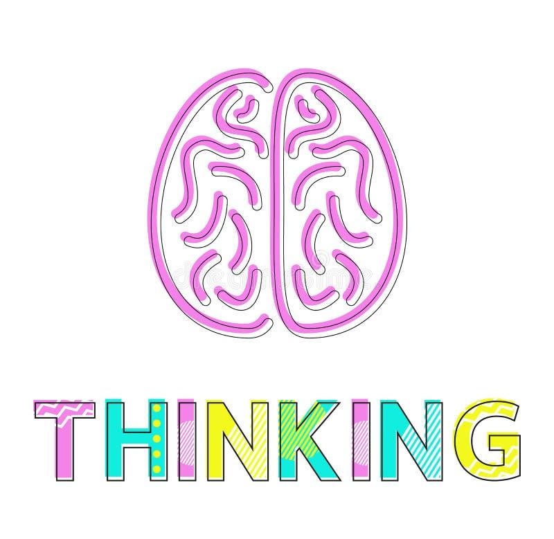 Διαδικασία σκέψης και ζωηρόχρωμη κάρτα εικονιδίων εγκεφάλου διανυσματική απεικόνιση