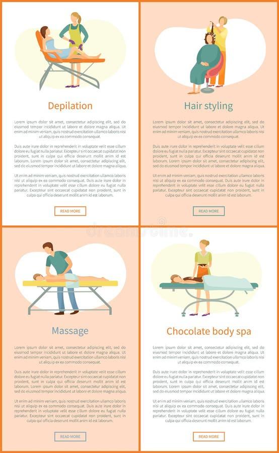 Διαδικασία στο δείγμα εμβλημάτων κινούμενων σχεδίων σαλονιών ομορφιάς διανυσματική απεικόνιση