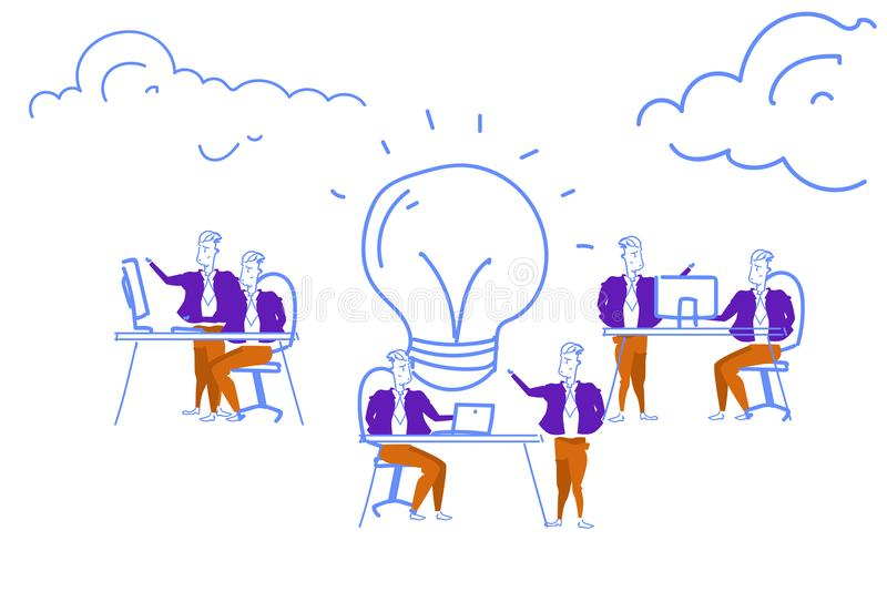 Διαδικασία 'brainstorming' επιχειρηματιών που παράγει το νέο ξεκίνημα έμπνευσης ομαδικής εργασίας έννοιας καινοτομίας λαμπτήρων ι ελεύθερη απεικόνιση δικαιώματος