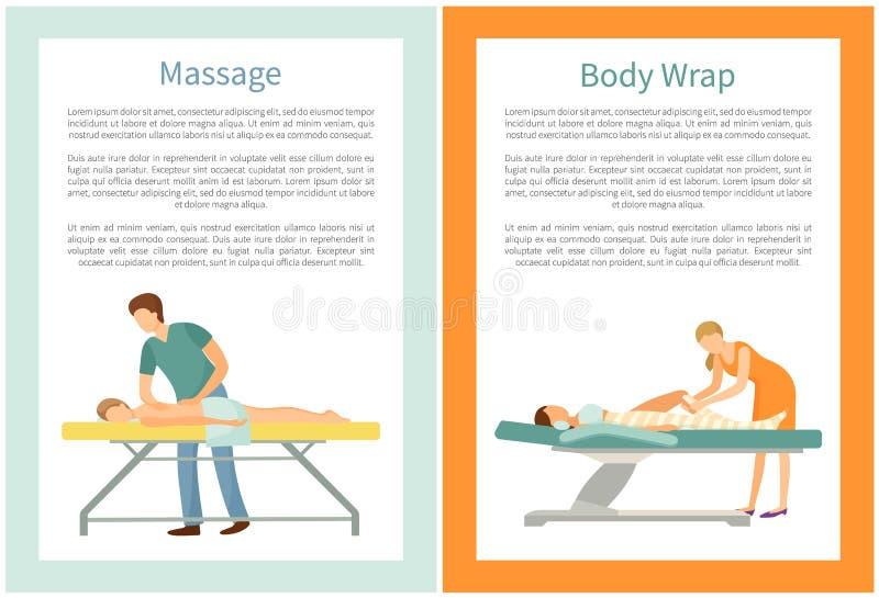 Διαδικασίες περικαλυμμάτων μασάζ και σώματος που γίνονται από το μασέρ απεικόνιση αποθεμάτων