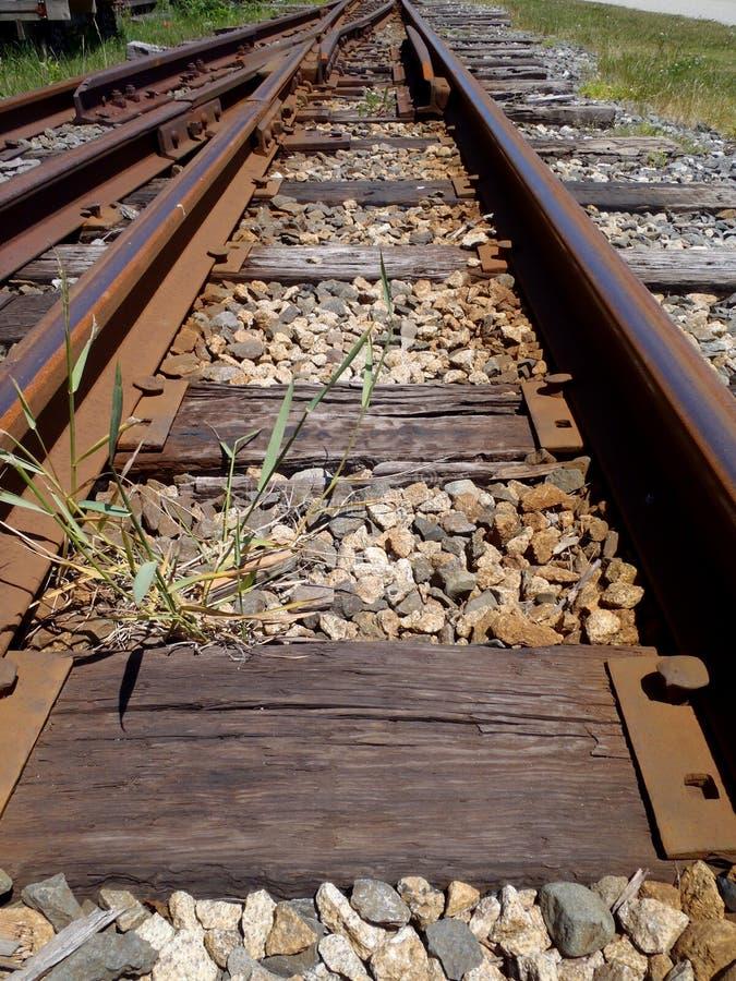 Διαδρομές σιδηροδρόμου που τρέχουν στην απόσταση με έναν διακόπτη διαδρομής στοκ εικόνα με δικαίωμα ελεύθερης χρήσης