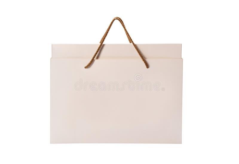 Διαδρομή αποκοπής σακούλας για ψώνια από χαρτί απομονωμένη σε λευκό στοκ εικόνα