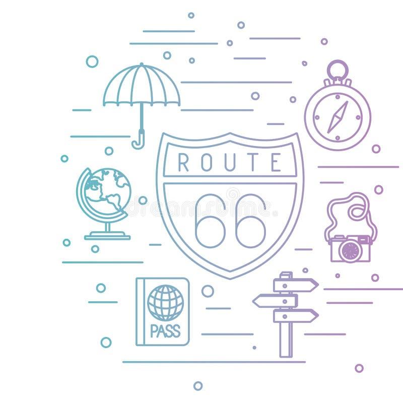Διαδρομή 66 σήμα με τα καθορισμένα εικονίδια ταξιδιού διανυσματική απεικόνιση