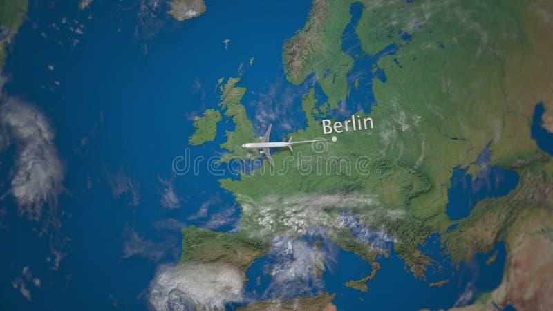 Διαδρομή του εμπορικού αεροπλάνου που πετά από το Βερολίνο στη γήινη σφαίρα Διεθνής τρισδιάστατη απόδοση ταξιδιού ελεύθερη απεικόνιση δικαιώματος