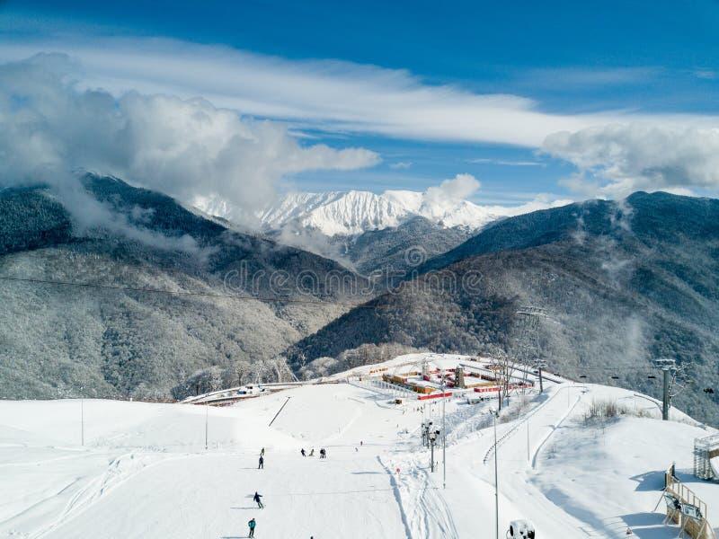 Διαδρομή χιονοδρομικών κέντρων της Rosa Khutor στοκ φωτογραφία