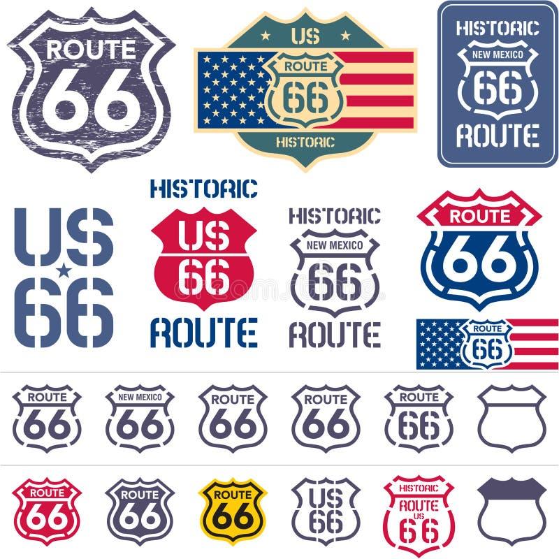 Διαδρομή 66 σύνολο σημαδιών απεικόνιση αποθεμάτων