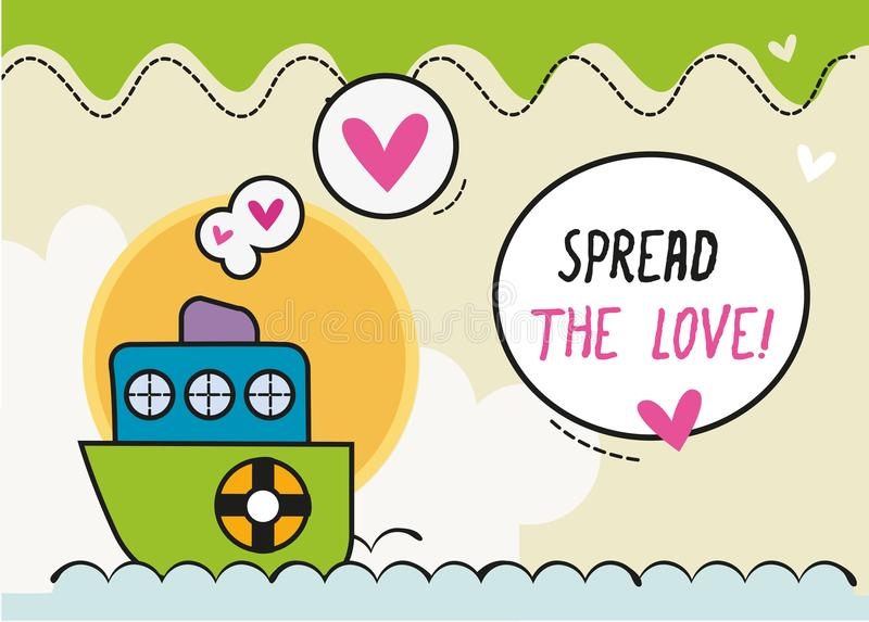 Διαδώστε το μικρό σκάφος κινούμενων σχεδίων του /Colorful καρτών σχεδίου αγάπης ελεύθερη απεικόνιση δικαιώματος