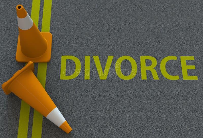 Διαζύγιο, μήνυμα στο δρόμο διανυσματική απεικόνιση