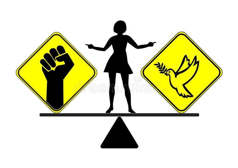 Διαζύγιο με την ειρήνη ή τον πόλεμο διανυσματική απεικόνιση