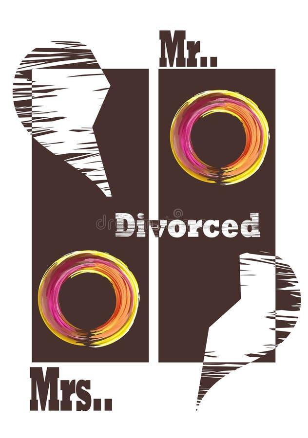 Διαζύγιο, μια σπασμένη καρδιά και χωριστά δύο δαχτυλίδια ελεύθερη απεικόνιση δικαιώματος