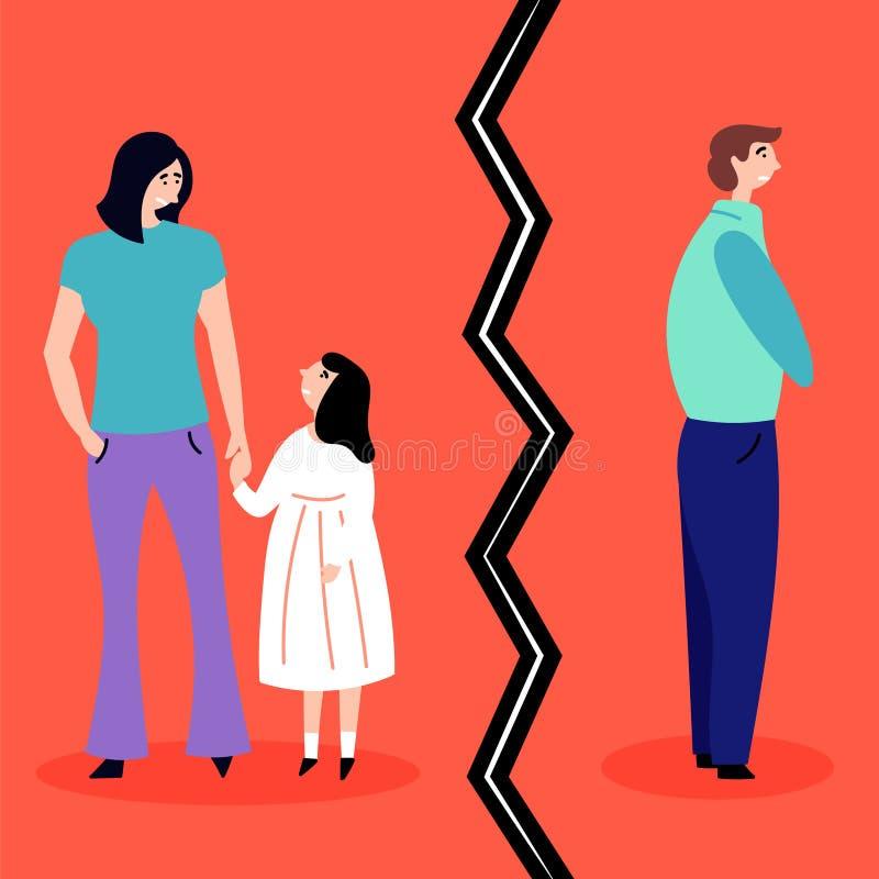 Διαζύγιο - ο σύζυγος και η σύζυγος παίρνουν διαζευγμένοι Χωρισμός Κατάρρευση μιας σχέσης Αγχωτικές καταστάσεις διανυσματική απεικόνιση