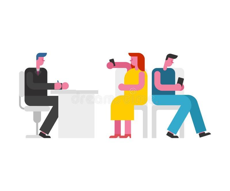 διαζύγιο Παντρεμένο ζευγάρι και δικηγόρος Οικογένεια που παίρνει διαζευγμένη διανυσματική απεικόνιση