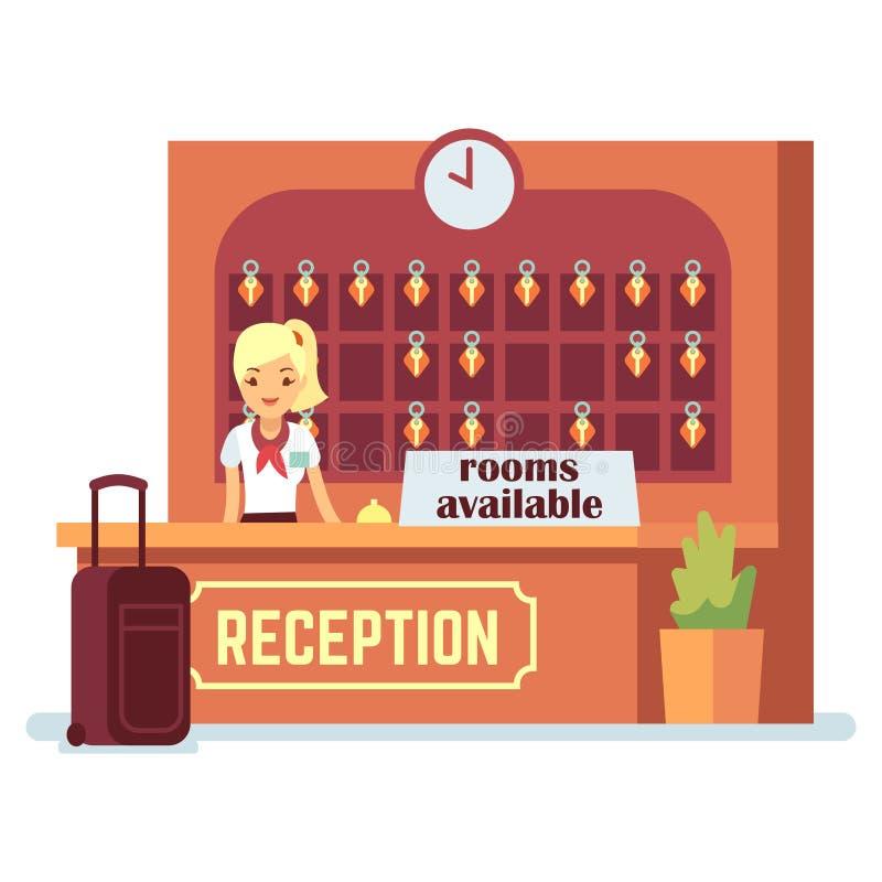 Διαθέσιμη διανυσματική απεικόνιση δωματίων Κορίτσι χαρακτήρα κινουμένων σχεδίων και γραφείο εισόδου στο ξενοδοχείο ή τον ξενώνα ελεύθερη απεικόνιση δικαιώματος