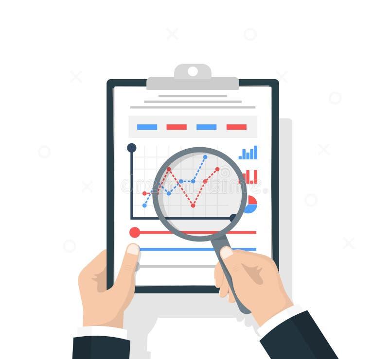 Διαθέσιμο έγγραφο χεριών λαβής επιχειρηματιών με τα στατιστικά στοιχεία με τα διαγράμματα, διαγράμματα Έγγραφα εργασιακών χώρων γ ελεύθερη απεικόνιση δικαιώματος