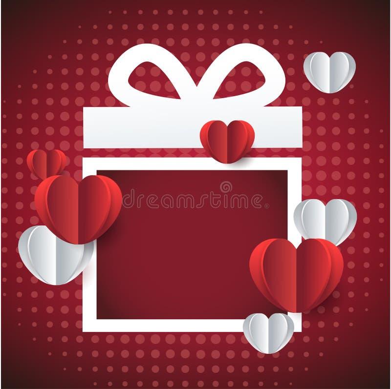 διαθέσιμο διάνυσμα βαλεντίνων αρχείων ημέρας καρτών Κόκκινο πλαίσιο δώρων με τις καρδιές ελεύθερη απεικόνιση δικαιώματος