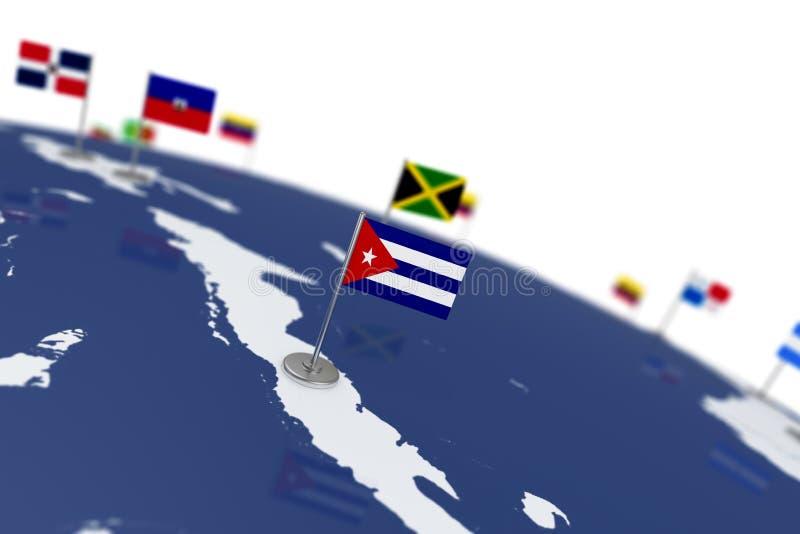 διαθέσιμο διάνυσμα ύφους γυαλιού σημαιών της Κούβας απεικόνιση αποθεμάτων