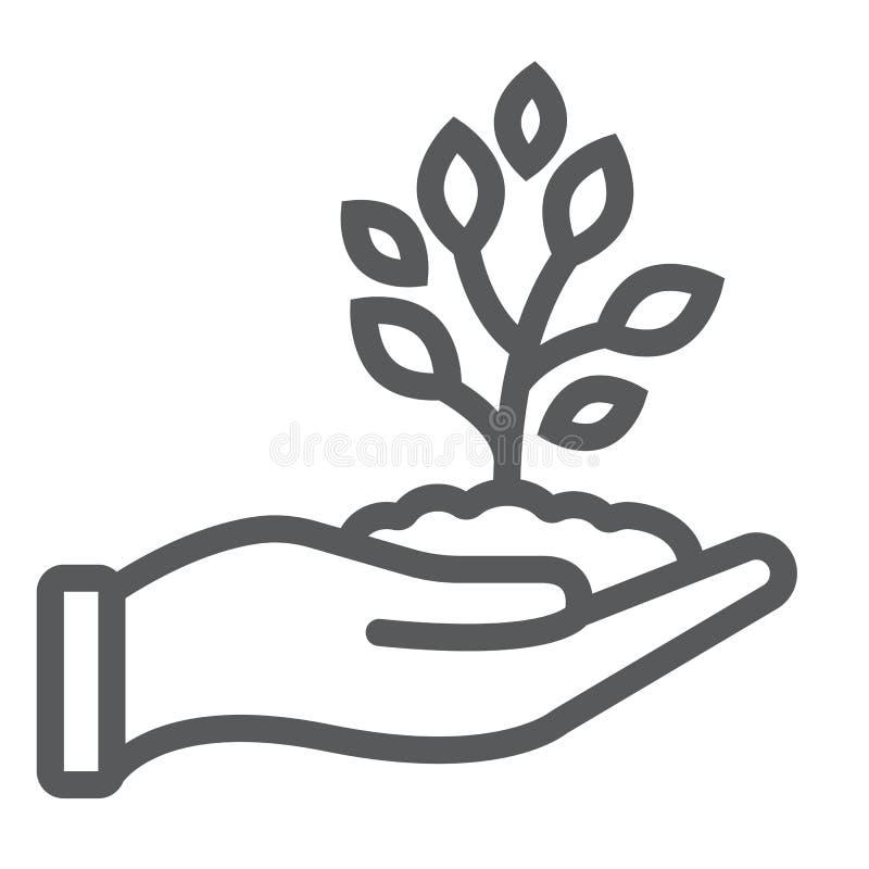Διαθέσιμο εικονίδιο, καλλιέργεια και γεωργία γραμμών χεριών νεαρών βλαστών διανυσματική απεικόνιση