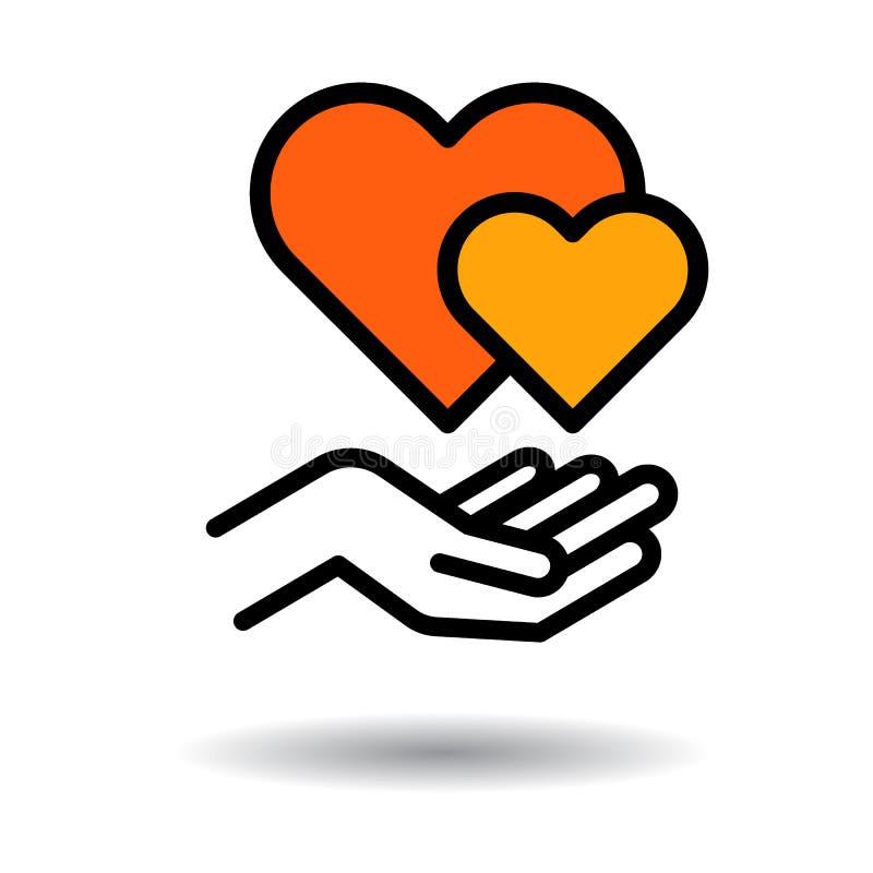 Διαθέσιμο εικονίδιο χεριών καρδιών απεικόνιση αποθεμάτων