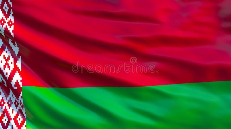 διαθέσιμο λευκορωσικό διάνυσμα ύφους γυαλιού σημαιών Κυματίζοντας σημαία της λευκορωσικής τρισδιάστατης απεικόνισης ελεύθερη απεικόνιση δικαιώματος