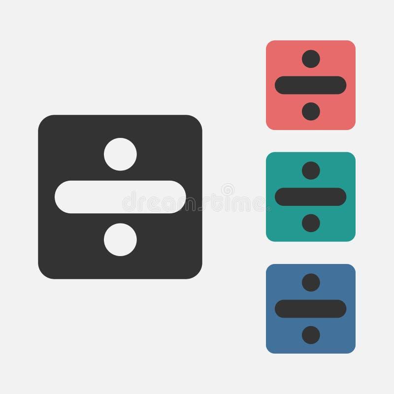 Διαιρέστε το εικονίδιο σημαδιών, μαθηματικά, υπολογίστε διανυσματική απεικόνιση
