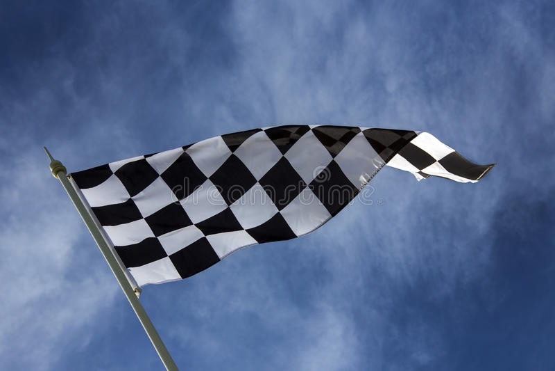 Διαιρεσμένη σε τετράγωνα σημαία - νικητής στοκ φωτογραφίες